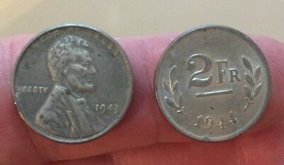 1943 steel Lincoln cent & 1944 Belgium Liberation steel 2 francs