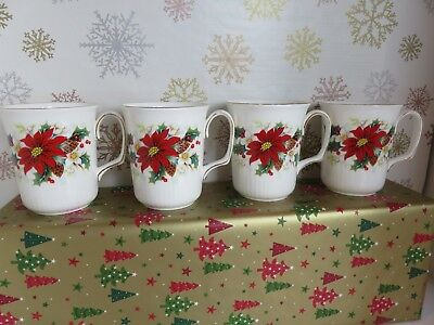 Royal Albert Poinsettia Coffee Mugs Set Of 4 Made In England 1976