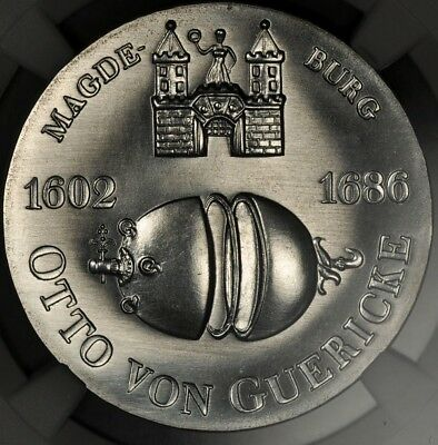 1977 Ngc Ms67 East Germany Silver 10 Mark Otto Von Guericke Top Pop 4/0