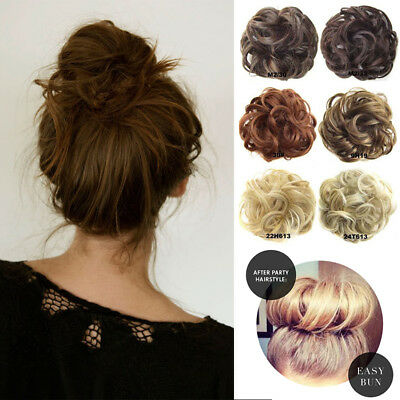 AU Messy Bun Hair Scrunchies Pony tail Hair Piece Updo Chignon Real Natural AI5