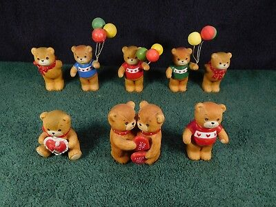 "8 Vintage Enesco ""Lucy & Me"" Bears w/ Balloons & Valentines"