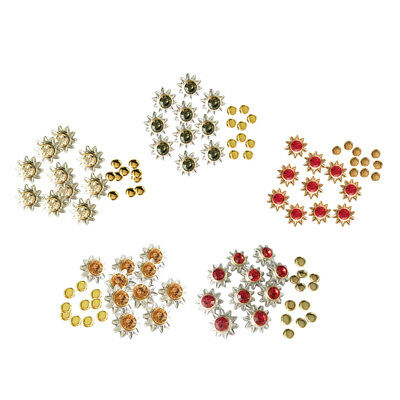 50 Sets Sunflower Rhinestone Rivets Nailheads Spots Studs for Leather Crafts