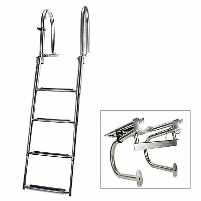 4 Step Extra Wide Step Led Light Stainless Folding Rear Entry Pontoon Ladder-EAM