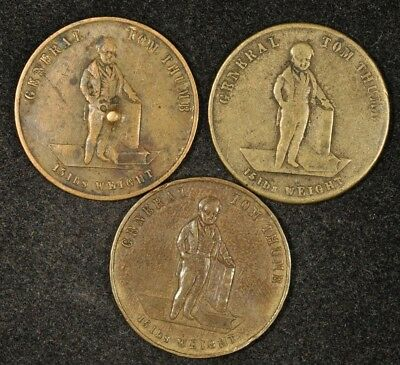 1846, 1850, & No Date General Tom Thumb Medals Usa/britain (?)