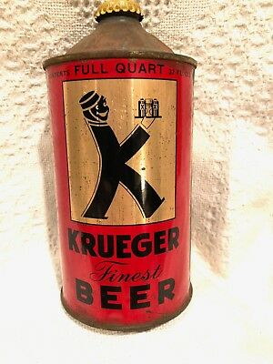 KRUEGER Finest Beer IRTP Quart Cone Top Beer Can Krueger Brewing NJ Original Cap