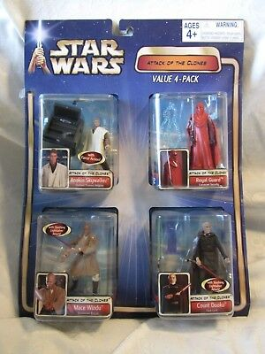 2002 Lucas Films Star Wars Attack Of The Clones Value 4 Pack New