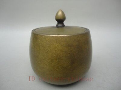 Collected Ancient China Bronze Carving Storage Box Jar POTS Buddhism Decoration