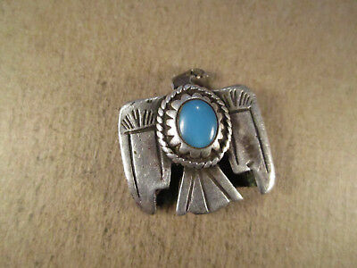 Vtg Sterling Silver & Turquoise Thunderbird Key Ring Fob, Unsigned, 6.4g