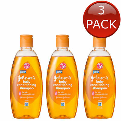 3 x JOHNSON'S BABY CONDITIONING SHAMPOO HYPOALLERGENIC GENTLE SOAP FREE 200mL
