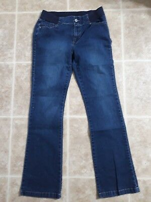DUO Maternity Size M Stretch Waist Cotton Blend Medium Wash Bootcut Jeans