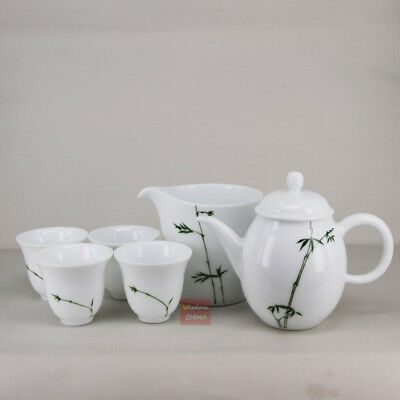 Chinese Jingdezhen Hand painted Bamboo Famille-rose Porcelain Tea Set of 6