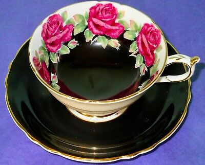 Paragon Exquisite Black with Pink Roses A3223 Cup & Saucer 1960s