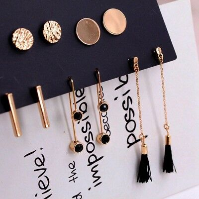 5 Pairs/set Fashion Tassel Round Stud Earrings Set for Women Trendy Jewelry New