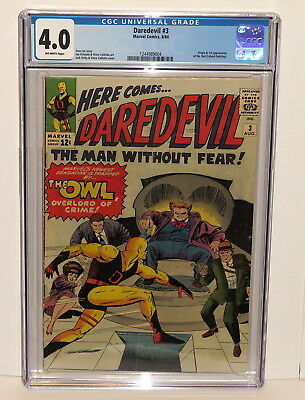 Daredevil #3 Origin & 1St Appear Of The Owl 8/64 Marvel Off-White Pages Cgc 4.0