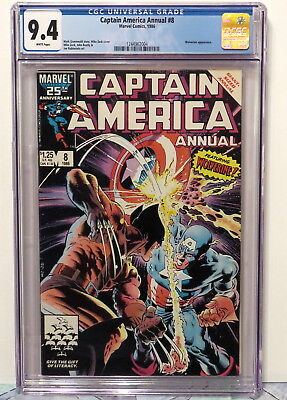 Captain America Annual#8 - Wolverine Appearance 1986 White Pages Cgc 9.4