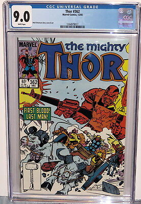 Mighty Thor #362 Executioner W M16 Rifles - Last Stand 12/85 White Pgs Cgc 9.0