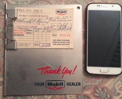 VINTAGE ORIGINAL MOBIL GAS CARD HOLDER/CLIPBOARD w 1959 GAS RECEIPT another one