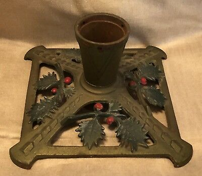 Vintage Antique? Cast Iron Christmas Tree Stand Green Red Holly Berries