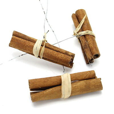 10x Cinnamon Sticks Bundled on Wire 8cm, with Bast, Cinnamon, Dekozimt