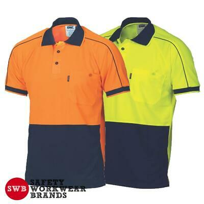 DNC Workwear Mens Hi Vis Cool 2 Tone Double Piping Polo Shirt Safety Work 3753