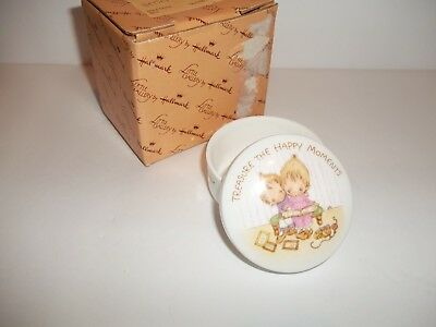 Vintage Hallmark Little Gallery Betsey Clark RARE Mini Round Trinket Box HAPPY
