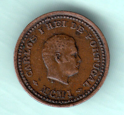 Portuguese Colonial India 1901 Extremely RARE 1/12 Tanga Copper Coin Carlos J1