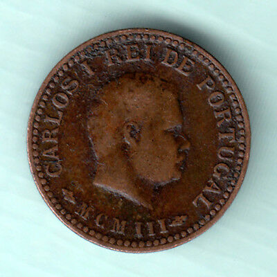 Portuguese Colonial India 1903 Extremely RARE 1/8 Tanga Copper Coin Carlos J2