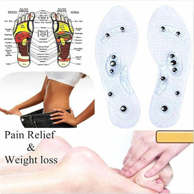 1 Pair Women Men Silicone Insole Magnetic Therapy Anti Fatigue Massage Insoles