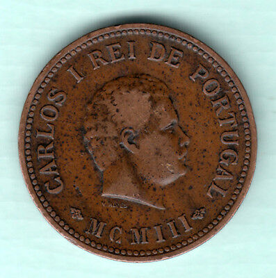 Portuguese Colonial India 1903 Extremely RARE 1/2 Tanga Copper Coin Carlos J4