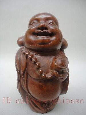 Collection Old China Wood Hand Carved Happy Maitreya Buddha Statue Decoration