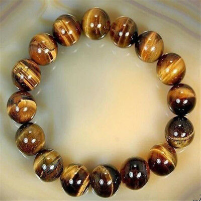 8mm Natural African Roar Natural Tiger's Eye Stone Round Beads Bracelet 7.5'' TR