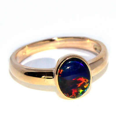 GENUINE NATURAL BLACK OPAL TRIPLETS 7x9mm SOLID 9K YELLOW GOLD RING - RED FLASH