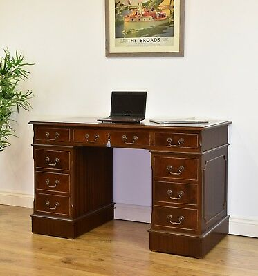 Antique Style Mahogany Eight Drawer Pedestal Desk With Leather & Gilt Inset