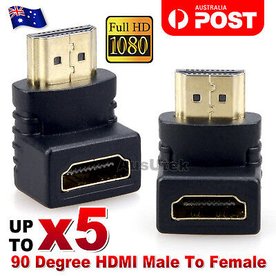 HDMI Male to HDMI Female 90 Degree Right Angle Adapter Plated Converter