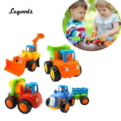 Push and Go Toy Friction Powered 4Pcs Bulldozer Bumper Truck Tractor Baby Gift