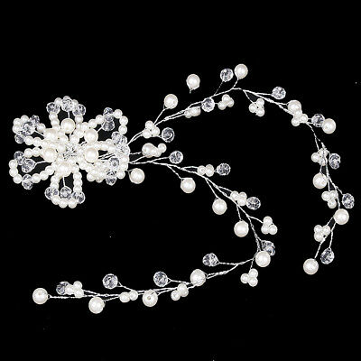 KQ_ HK- Flower Faux Pearl Rhinestone Hair Pin Clip Headwear White Bride Jewelry