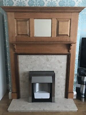Mantelpiece fire surround with Mirror and stone hearth C 1930's