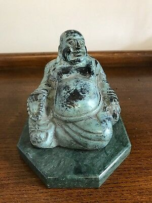 """Antique Vintage Japan Bronze Laughing Buddha Statue 5.5/6"""" on Marble Base"""