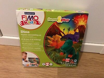 NEW Dino Dinosaur Fimo Kids Modelling Form & Play Polymer Clay Set Kids Craft