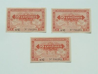 3 Consecutive Numbers Algeria 1949 50 Centimes Very High Grade