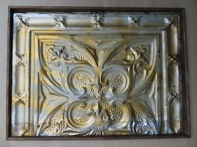 ANTIQUE TIN CEILING TILE RECLAIMED Shabby Chic WALL DECOR PANEL WOOD FRAMED-2