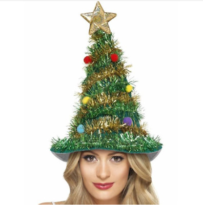 Adult Christmas Tree Hat with Tinsel Pk 1
