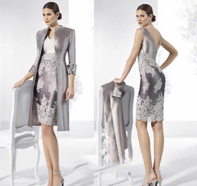 Elegant Mother of the Bride Dresses Lace Applique Knee Length Formal With Jacket