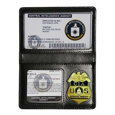 Prop Cosplay CIA Badge Card Holder Special Agent Police ID Cards Fun Play