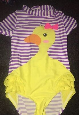 Baby Girl Wave Zone Toddler Duck Swimsuit Size 2