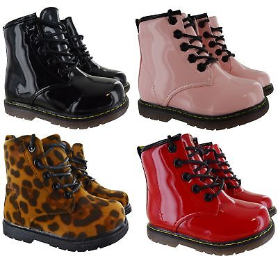 Kids Girls Winter Warm Fur Lined Lace Up Dm Grip Sole Zip Matin Shoes Boots Size