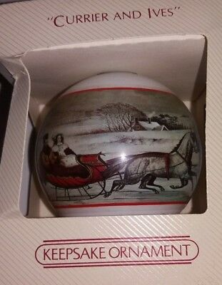 Hallmark Large Glass Ornament Currier and Ives 1982 The Road Winter Sleigh Ride