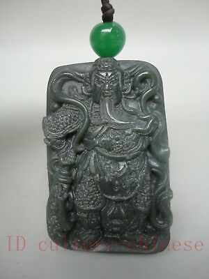 Collect Old China Natural Green Jasper Carving Justice Guanyu Pendant Decoration