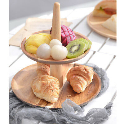 Retro 2-Tier Wooden Cheese Dish Salad Plate Cake Cupcake Stand Serving Tray