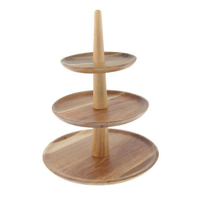 Retro 3-Tier Wooden Cheese Dish Salad Plate Cake Cupcake Stand Serving Tray